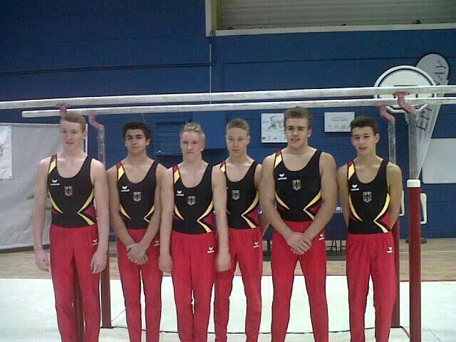 U16 Mannschaft Gerätturnen Deutschland: Nils Dunkel (links), Dschamal Mergen, Felix Remuta, Lucas Herrmann, Korbinian Jung, Aaron Wagner (Foto: Korbinian Jung)